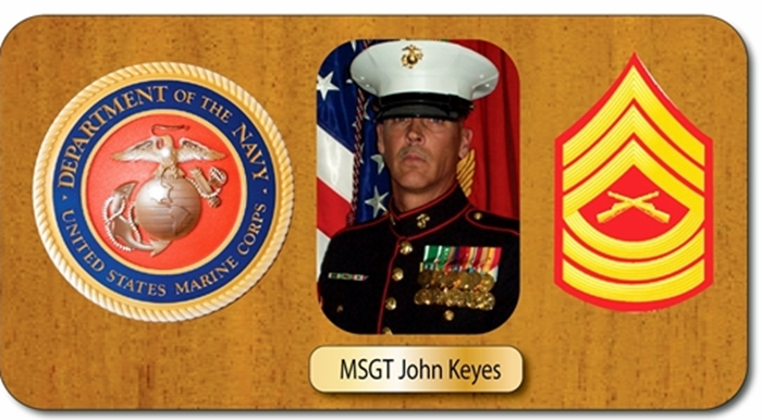 GC15870 - Mahogany  Wall Plaque Honoring a US Marine Master Sergeant, Featuring Giclee Images of his Photo and Images of USMC Insignia