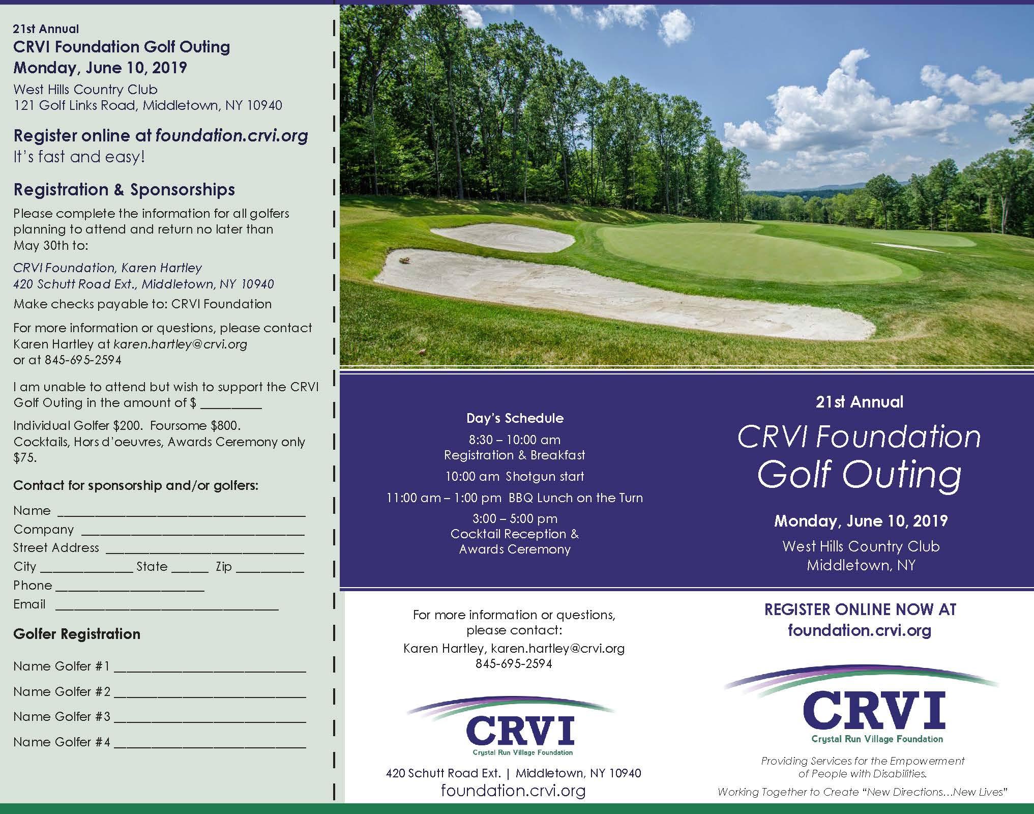 CRVI : Foundation : CRVI Foundation Golf Outing 2019