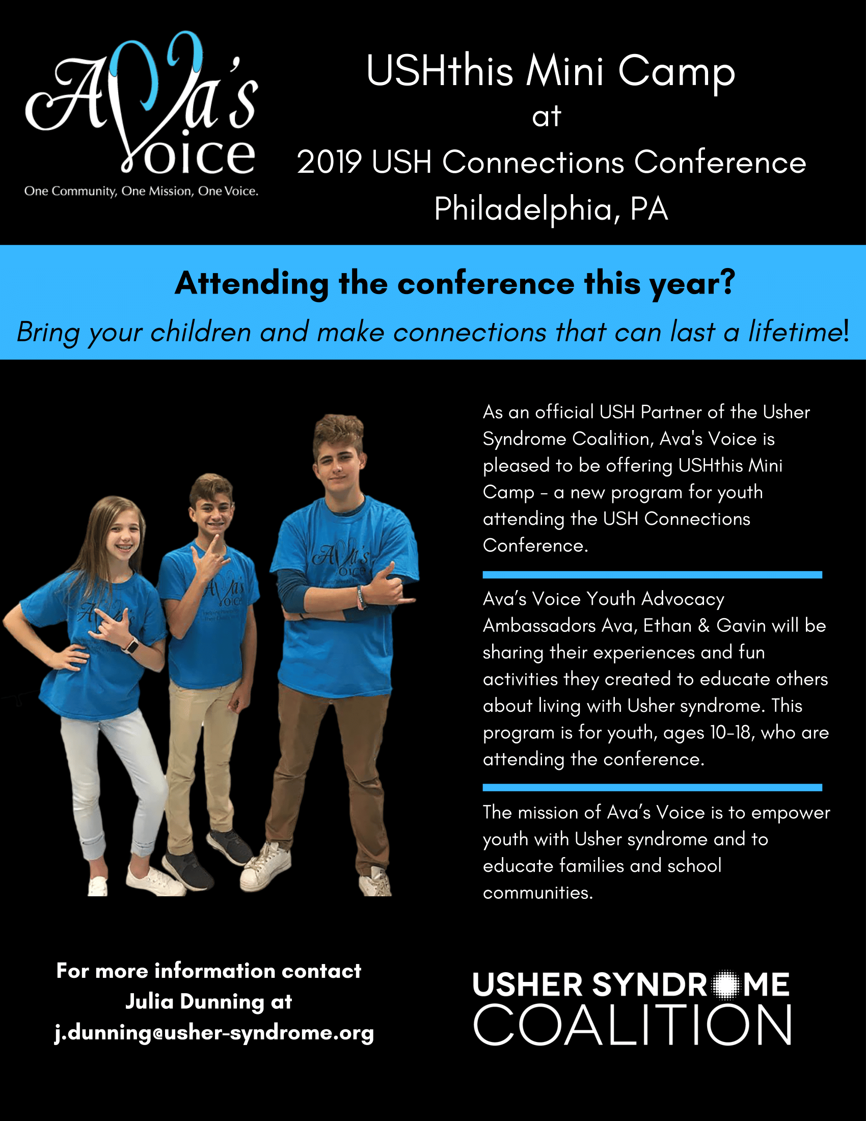 """Flyer with black background and white text with Ava's Voice logo in top left corner with subtext """"One Community, One Mission, One Voice"""" and the Usher Syndrome Coalition logo in white bottom right corner. Flyer text: USHthis Mini Camp at 2019 USH Connect"""