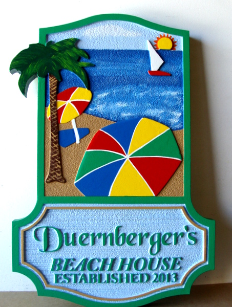 L21058- Carved HDU Beach Sign with Sun, Umbrella, Ocean, Palm Tree, Chairs and Name Plate