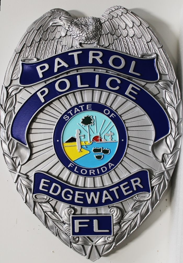 PP-1142 - Carved 3-D Plaque of the Badge of Police Patrol, Edgewater, Florida