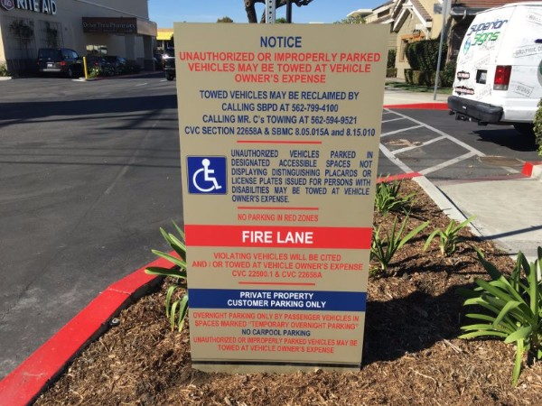 Parking lot signs for retail centers in Orange County CA