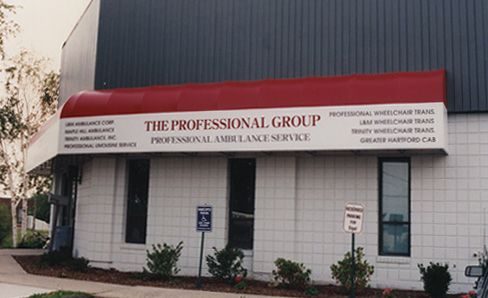 Awning, 2 Color, Waterfall Wrap Around Design, Vinyl Lettering