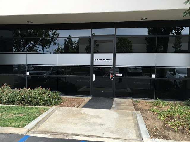 Etched vinyl window graphics Orange County CA