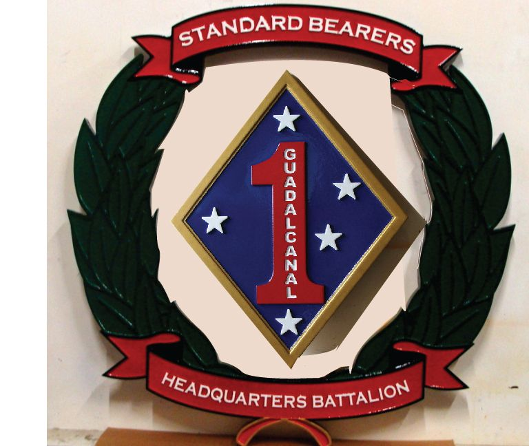 """V31423 -  Carved Wood Wall Plaque for USMC First Division """"The Old Breed"""""""
