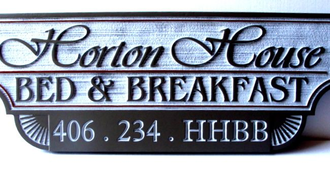 "T29096- Carved  and Sandblasted Wood Grain HDU Sign for the """"Horton House"" B & B"