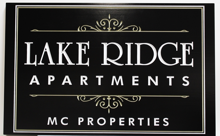 "K20387 -  Engraved High-Density-Urethane (HDU)  Entrance Sign for the ""Lake Ridge Apartments"""