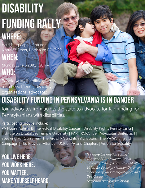 Top of flyer: Disability Funding Rally Where: Harrisburg Capitol Rotunda North 3rd Street, Harrisburg PA 17120 When: Monday June 6 2016, 1:30 PM WHO:  People with disabilities, family members, friends, disability organizations, advocates. Bottom of flyer: