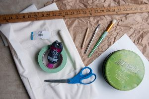 Materials needed to make a DIY crescent moon table runner.