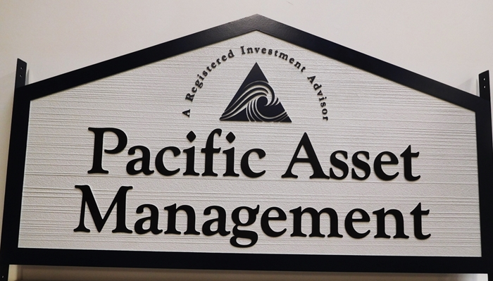 C12100 - Carved  Sign forPacific Asset Management Group, 2.5-D Relief with Raised Text and Border and Sandblasted Wood Grain Background
