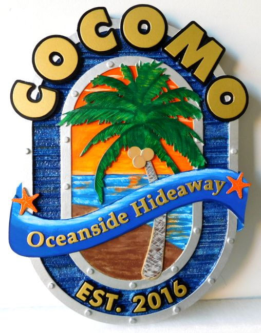 "L21105 - Carved 3-D Custom  Beach House Sign ""Cocomo Oceanside Hideaway""  with  a Palm Tree and  Beach as Artwork"