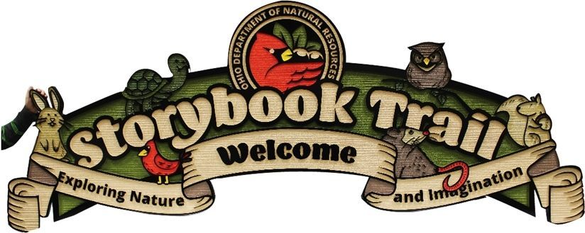 GA16432- Large Carved  2.5-D HDU Sign for the Storybook Trail, Ohio Department of Natural Resources, with a Squirrel, a Rabbit, a Cardinal Bird, an Owl, and and a Turtle  as Artwork.