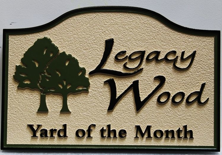 "KA20924 - Carved High-Density-Urethane (HDU) Yard-of-the-Month sign for the ""Legacy Wood"" Home Owners Association (HOA)"