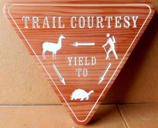 G16156 - Trail Courtesy Sign for Yield to Animals, Hikers