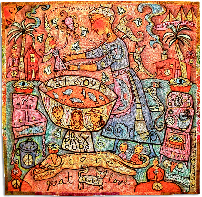 'Kat Soup,' made by Susan Shie, made in Ohio, 2011, painted, hand-drawn, embellished and machine quilted, 86 x 87""