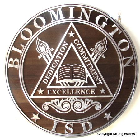 Y34720 - Carved 2.5-D  Flat-Relief Stained Cedar Wall Plaque of the Seal of the Bloomington Integrated School District, with Aluminum Overlay