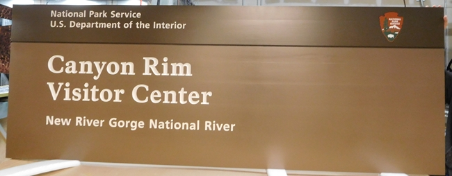 "G16018 - Large Cedar Wood Sign for the National Park Service New River Gorge National River Park' Visitor Center, with NPS ""Arrow"""