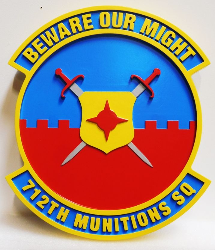 LP-2820 - Carved Plaque of the Crest of the Air Force 712th Munitions Squadron, 2.5-D Artist-Painted