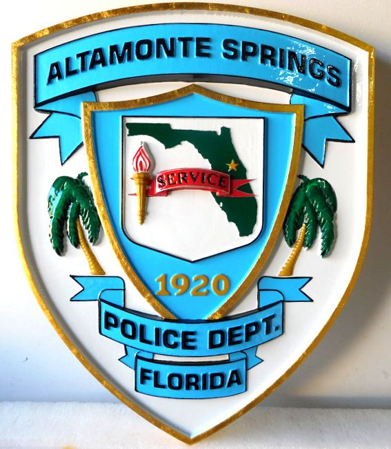 PP-2080 - Carved  Wall Plaque of the Shoulder Patch of the Altamonte Springs Police, Florida, Artist Painted