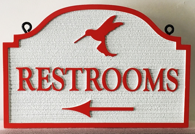 "G16336 - Carved and Sandblasted Wood Grain HDU ""Restrooms"" Directional Sign"