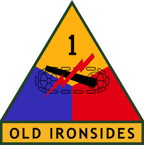 "MP-1420 - Carved Plaque of the Insignia  of the 1st  Armored Division of the US Army,""the ""Old Ironsides"" , Artist Painted"