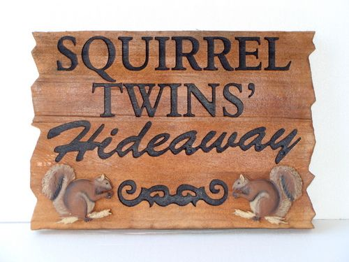 "M3076 - Stained Cedar Wood Cabin Sign ""Squirrel Twins' Hideaway,""  with Carved 3D Squirrels (Gallery 21)"