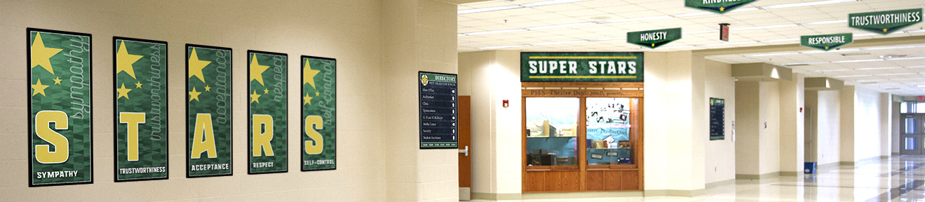 Super Stars signs, custom school signs, green & yellow, character values