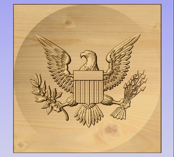 M3974 - Carved Maple American Eagle Emblem