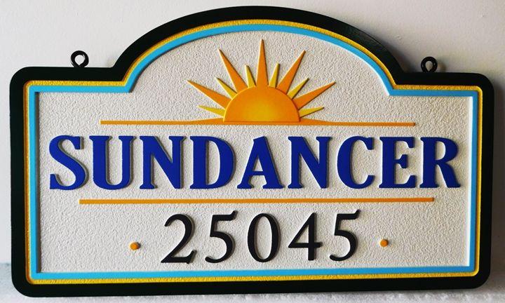 "L21940 - Carved and Sandblasted 2.5-D HDU sign for the ""SUNDANCER"" Coastal Residence."
