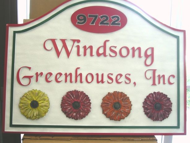 """O24748 - Sandblasted, Smoth HDU Sign for """"Wingsong Greenhouse's, Inc."""" with Colorful  3D Zinnias"""