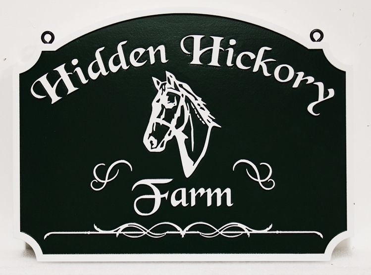 """P25246 - Carved Sign for """"Hidden Hickory Farm """" with  Raised Text and a Horse's Head"""