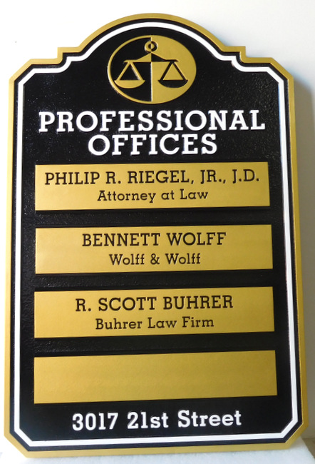 A10506 -  Law Office Directory Sign with Four Changeable Nameplates