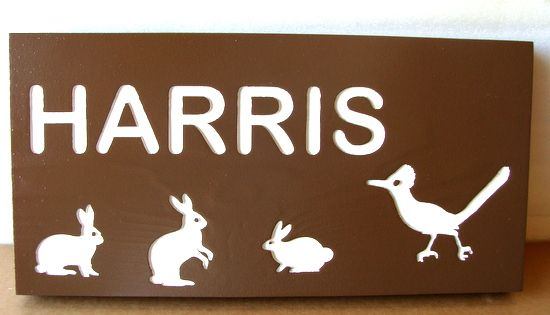 O24626 - Engraved Wood Property Name Sign, with Rabbits and Roadrunner
