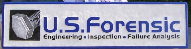 M5178 - Carved GDU Sign for U.S. Forensic Engineering, Inspection, Failure Analysis, Cracked Bolt Logo.