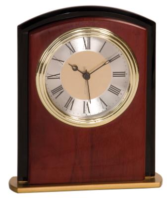Square Arch Mahogany Finish Desk Clock
