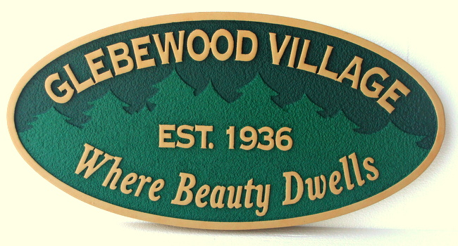 "K20125 - Carved Entrance Sign for ""Glebewood  Village"", a Residential Community, with a Forest of Evergreen Trees"