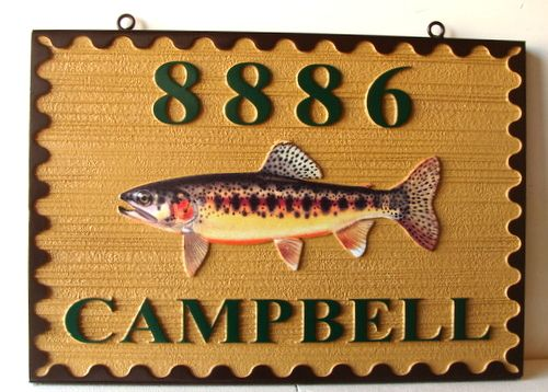 M22558 - Carved and Sandblasted HDU  Cabin Address Sign with Mounted 3-D Trout