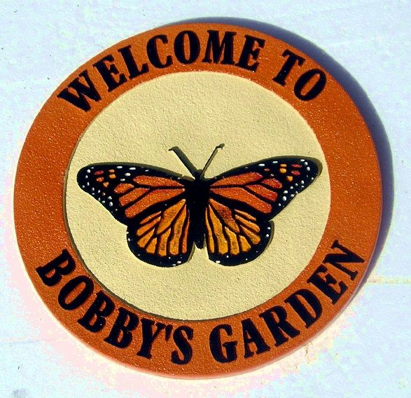LG944 - Carved Garden Sign with Hand-Painted Monarch Butterfly