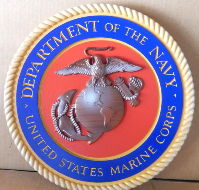 V31404 -Carved 3-D Wall Plaque of the Official Seal of the United States Marine Corp (Official Colors except for  light blue border)