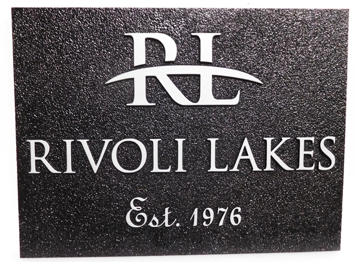 "K20361 - Carved and Sandblasted 2.5D HDU  Entrance Sign of the ""Rivoli Lakes "" Residential Community."