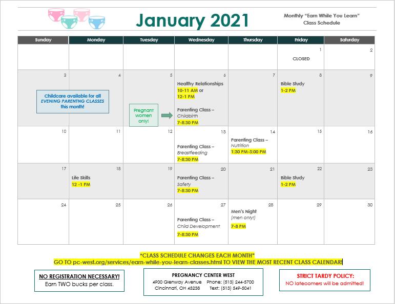 January 2021 EWYL Class Schedule