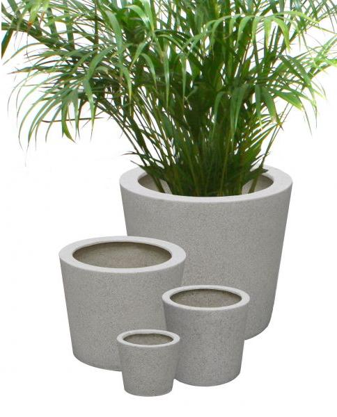 Planter white round