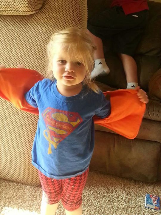 """Our first Superhero pic for Sammy's self-declared """"Sammy Shirt Day!"""" Cute Lauren Fleming!"""
