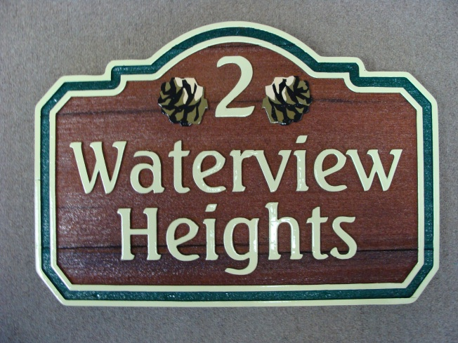 M3031 - CNC Routed Redwood Address Plaque