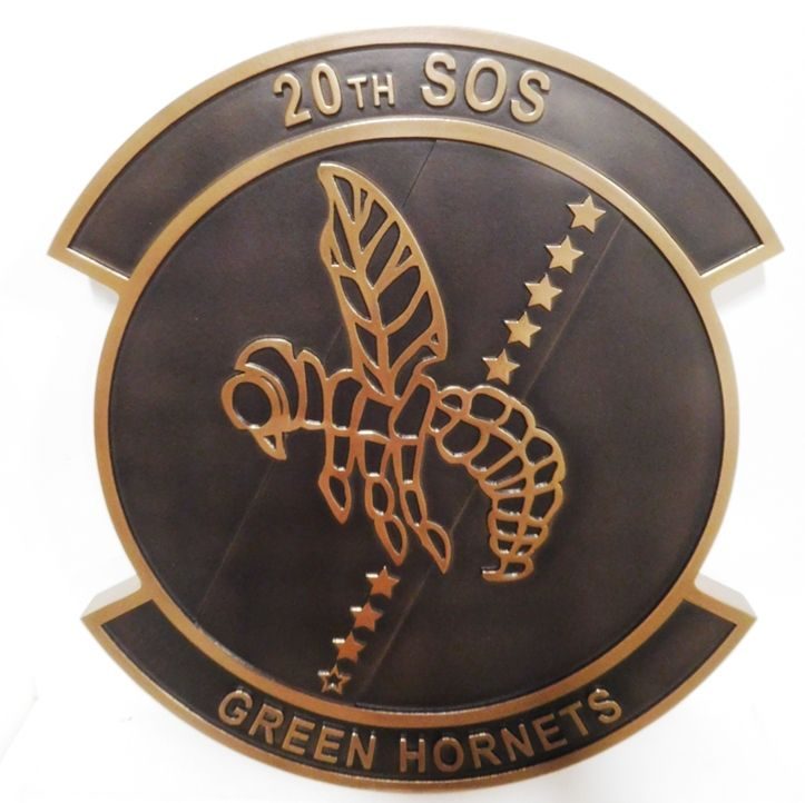 """LP-3670 - Carved Plaque of the Crest of the  20th SOS """"Green Hornets"""" , 2.5-D Bronze-plated"""