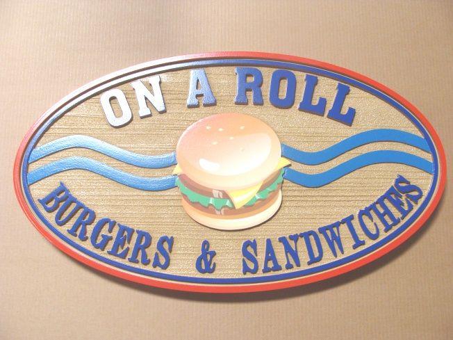 Q25530 - Burger, Cafeteria Interior Hanging Sign
