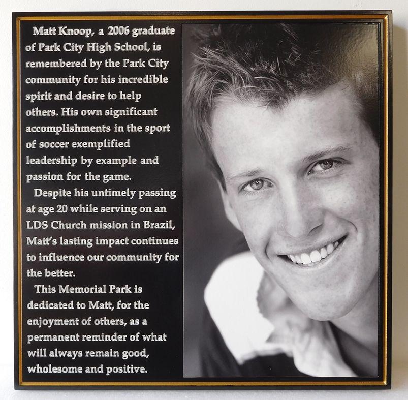 GC16550 - Carved Memorial Plaque with Photo of Matt Knoop, Park City, Utah