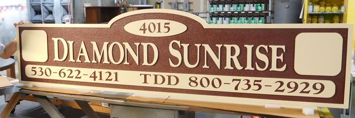 "K20214 - Carved HDU Entrance Sign for the ""Diamond Sunrise""  Apartment Complex., 2.5D Sandblasted Background"