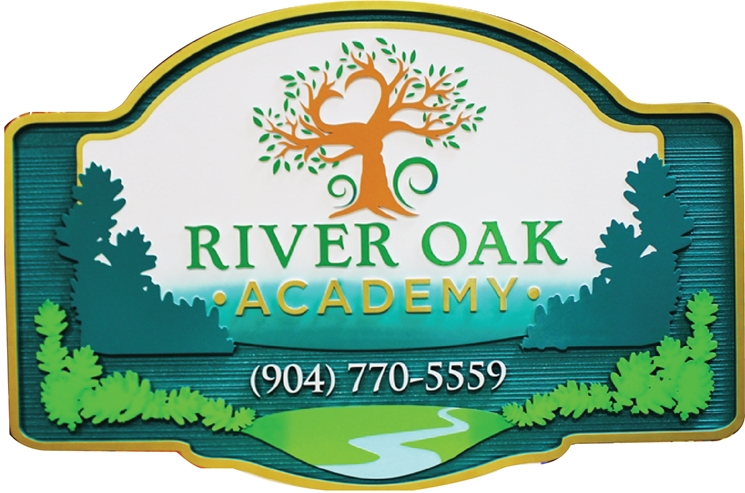 FA15603 - Carved River Oak Academy Entrance Sign, with Oak Tree, Stream and Forest as Artwork