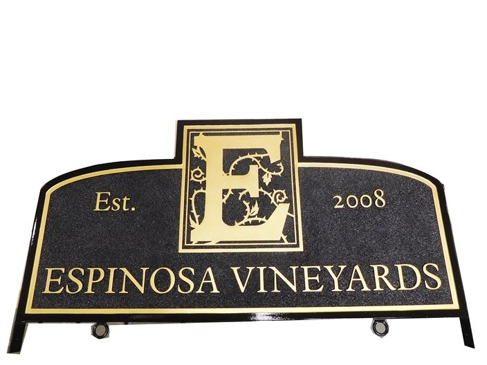 M6132 - Carved Sandblasted 3-D Elegant  Winery Entrance Sign Mounted Between Two Steel Posts